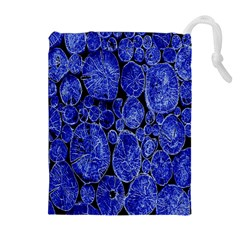 Neon Abstract Cobalt Blue Wood Drawstring Pouches (extra Large)