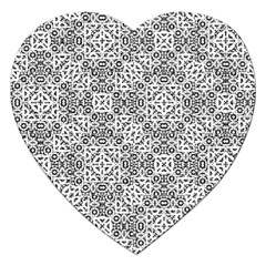 Black And White Oriental Ornate Jigsaw Puzzle (heart) by dflcprints