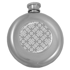 Black And White Oriental Ornate Round Hip Flask (5 Oz) by dflcprints