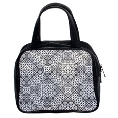 Black And White Oriental Ornate Classic Handbags (2 Sides) by dflcprints