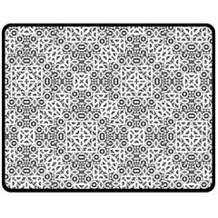 Black And White Oriental Ornate Fleece Blanket (medium)  by dflcprints