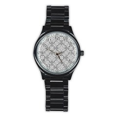 Black And White Oriental Ornate Stainless Steel Round Watch by dflcprints