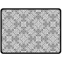 Black And White Oriental Ornate Double Sided Fleece Blanket (large)  by dflcprints