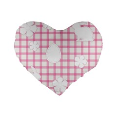 Easter Patches  Standard 16  Premium Flano Heart Shape Cushions by Valentinaart