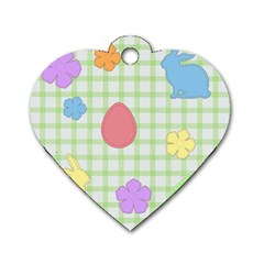 Easter Patches  Dog Tag Heart (one Side) by Valentinaart