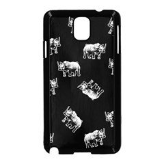 Rhino Pattern Samsung Galaxy Note 3 Neo Hardshell Case (black) by Valentinaart