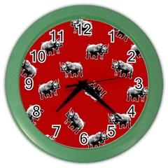 Rhino Pattern Color Wall Clocks by Valentinaart