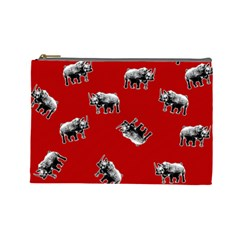 Rhino Pattern Cosmetic Bag (large)  by Valentinaart