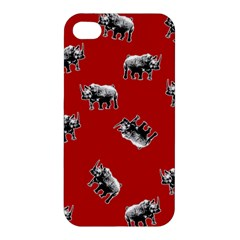 Rhino Pattern Apple Iphone 4/4s Premium Hardshell Case by Valentinaart