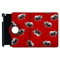Rhino Pattern Apple Ipad 3/4 Flip 360 Case by Valentinaart