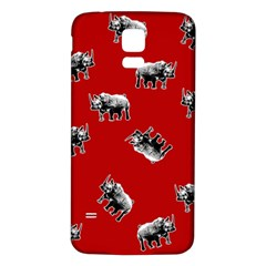 Rhino Pattern Samsung Galaxy S5 Back Case (white) by Valentinaart