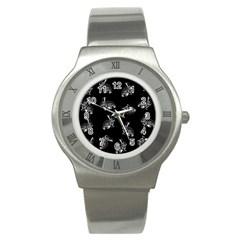Rabbit Pattern Stainless Steel Watch by Valentinaart
