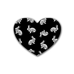 Rabbit Pattern Rubber Coaster (heart)  by Valentinaart