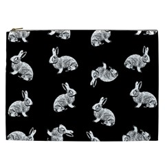 Rabbit Pattern Cosmetic Bag (xxl)  by Valentinaart