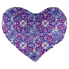 Cracked Oriental Ornate Pattern Large 19  Premium Flano Heart Shape Cushions by dflcprints
