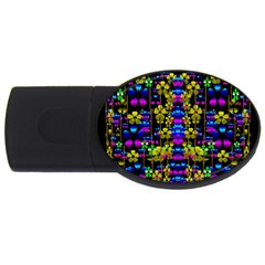 Flowers In The Most Beautiful  Dark Usb Flash Drive Oval (2 Gb) by pepitasart
