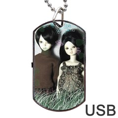 Dolls In The Grass Dog Tag Usb Flash (one Side) by snowwhitegirl