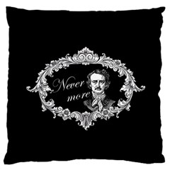 Edgar Allan Poe    Never More Large Flano Cushion Case (one Side) by Valentinaart