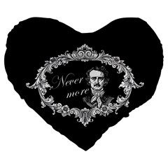 Edgar Allan Poe    Never More Large 19  Premium Flano Heart Shape Cushions by Valentinaart