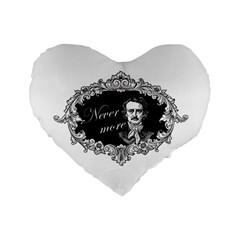 Edgar Allan Poe    Never More Standard 16  Premium Flano Heart Shape Cushions by Valentinaart