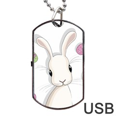 Easter Bunny  Dog Tag Usb Flash (one Side) by Valentinaart