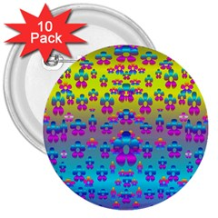 Flowers In The Most Beautiful Sunshine 3  Buttons (10 Pack)  by pepitasart
