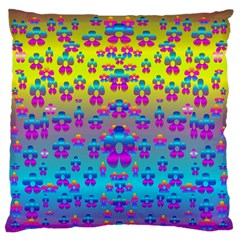 Flowers In The Most Beautiful Sunshine Large Flano Cushion Case (two Sides) by pepitasart