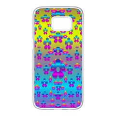 Flowers In The Most Beautiful Sunshine Samsung Galaxy S7 Edge White Seamless Case by pepitasart