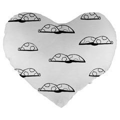 Turtle Large 19  Premium Heart Shape Cushions by ValentinaDesign