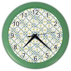 Vivid Check Geometric Pattern Color Wall Clocks by dflcprints