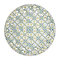 Vivid Check Geometric Pattern Round Filigree Ornament (two Sides) by dflcprints