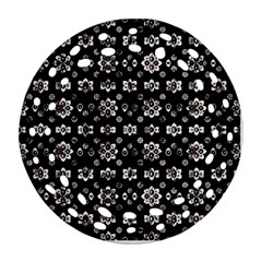 Dark Luxury Baroque Pattern Round Filigree Ornament (two Sides) by dflcprints