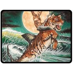 Tiger Shark Fleece Blanket (large)  by redmaidenart