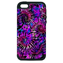 Purple Tie Dye Madness  Apple Iphone 5 Hardshell Case (pc+silicone) by KirstenStar