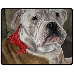 Dog Portrait Fleece Blanket (medium)  by redmaidenart