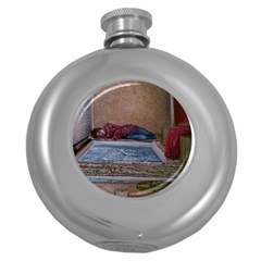 90 Degrees Round Hip Flask (5 Oz) by redmaidenart