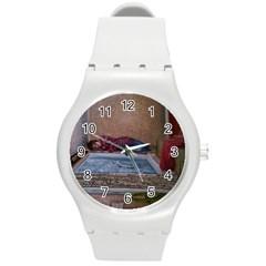 90 Degrees Round Plastic Sport Watch (m) by redmaidenart