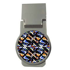 Multicolor Geometric Abstract Pattern Money Clips (round)  by dflcprints