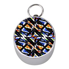 Multicolor Geometric Abstract Pattern Mini Silver Compasses by dflcprints