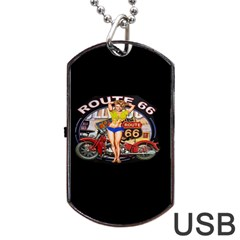 Route 66 Dog Tag Usb Flash (two Sides) by ArtworkByPatrick