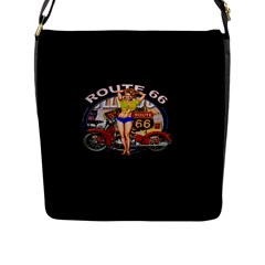Route 66 Flap Messenger Bag (l)  by ArtworkByPatrick