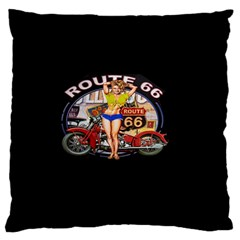 Route 66 Large Flano Cushion Case (one Side) by ArtworkByPatrick