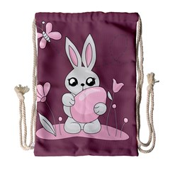 Easter Bunny  Drawstring Bag (large) by Valentinaart