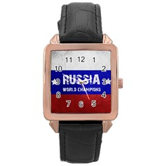 Football World Cup Rose Gold Leather Watch  by Valentinaart