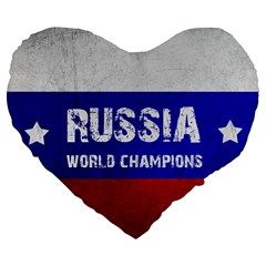 Football World Cup Large 19  Premium Flano Heart Shape Cushions by Valentinaart