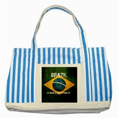 Football World Cup Striped Blue Tote Bag by Valentinaart