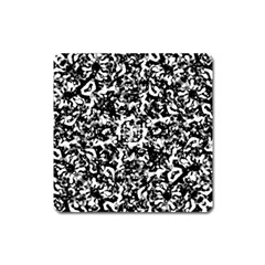 Black And White Abstract Texture Square Magnet by dflcprints