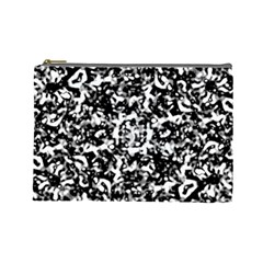 Black And White Abstract Texture Cosmetic Bag (large)  by dflcprints