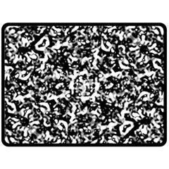 Black And White Abstract Texture Double Sided Fleece Blanket (large)  by dflcprints