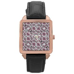 Boho Bold Vibrant Ornate Pattern Rose Gold Leather Watch  by dflcprints
